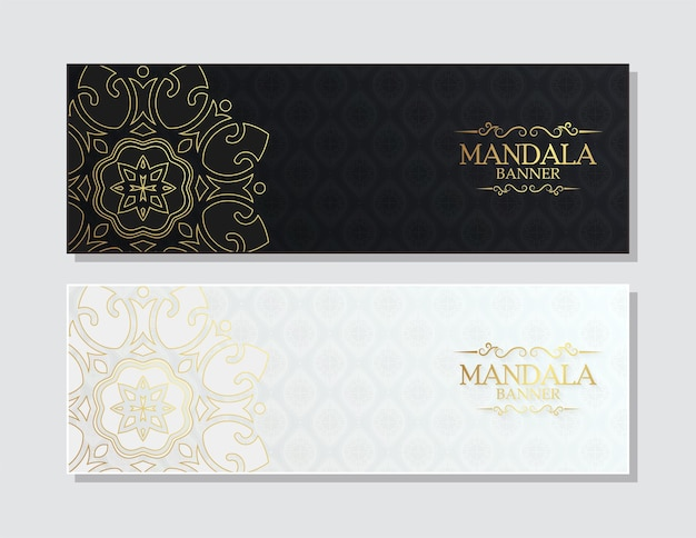 Conjunto de banner de mandala em ouro escuro