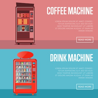 Conjunto de banner de máquina de venda automática