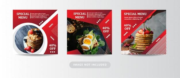 Conjunto de banner de menu especial de comida