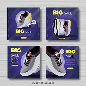 Conjunto de banner de modelo de postagem de tênis grande venda mídia social