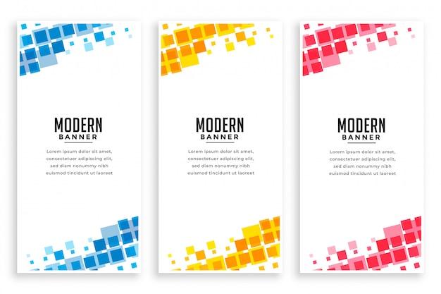 Conjunto de banner de mosaico de estilo empresarial moderno