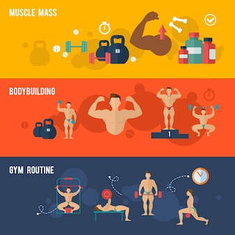 Conjunto de banner de musculação