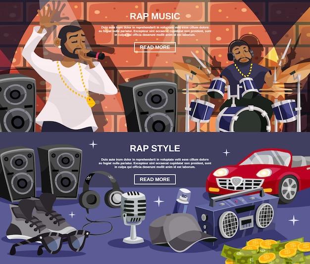 Conjunto de banner de música rap