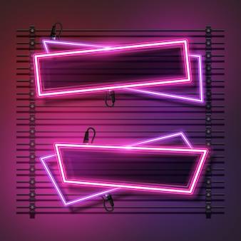 Conjunto de banner de néon abstrato rosa