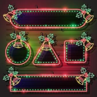 Conjunto de banner de néon de natal