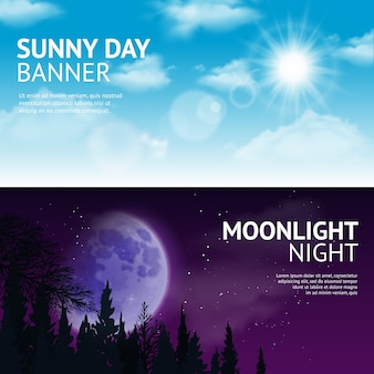 Conjunto de banner de noite e dia