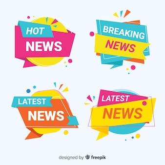 Conjunto de banner de notícias de formas geométricas coloridas