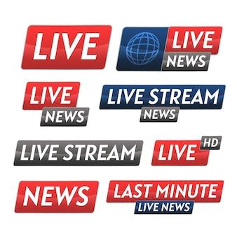 Conjunto de banner de notícias de transmissões ao vivo