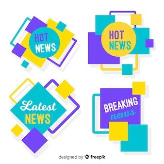 Conjunto de banner de notícias quadrados coloridos