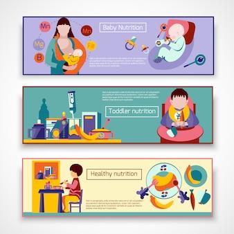 Conjunto de banner de nutrição de bebê