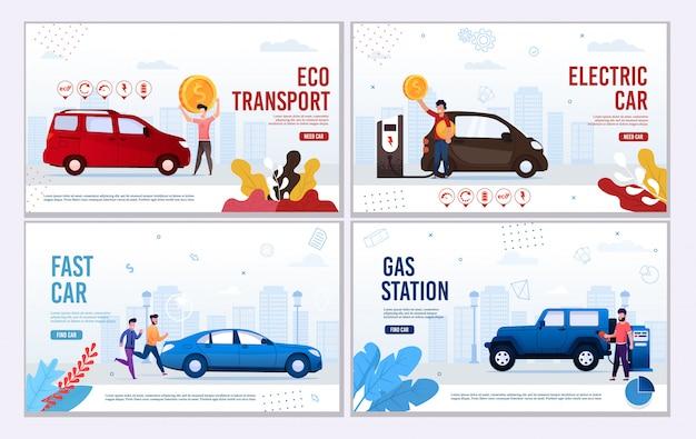 Conjunto de banner de página da web automotiva oferece transporte ecológico