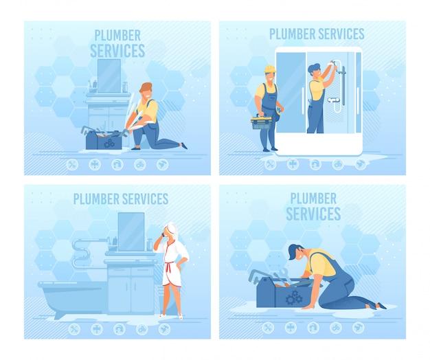 Conjunto de banner de página da web de serviço profissional de encanador