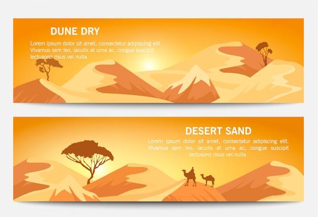 Conjunto de banner de paisagem de areia do deserto