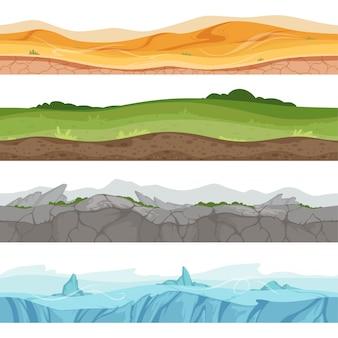Conjunto de banner de paisagens diferentes