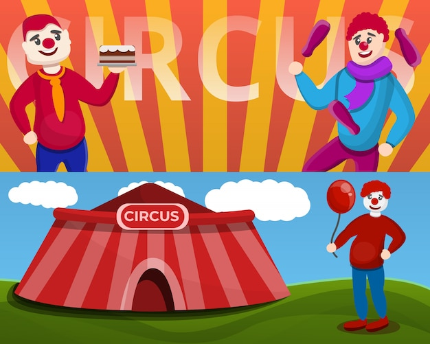 Conjunto de banner de palhaço de circo, estilo cartoon
