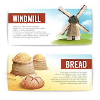 Conjunto de banner de pão