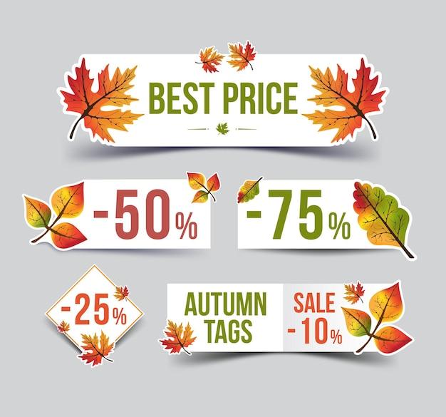 Conjunto de banner de papel com folhas de outono para desconto e venda