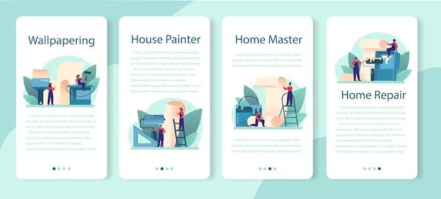 Conjunto de banner de papel de parede para aplicativos móveis