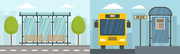 Conjunto de banner de parada de ônibus da cidade