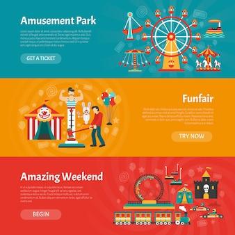 Conjunto de banner de parque de diversões
