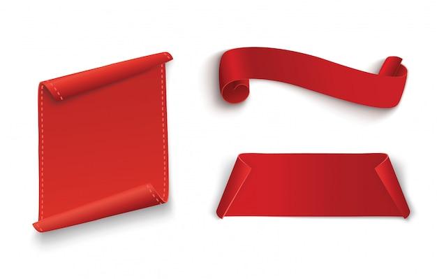 Conjunto de banner de pergaminhos vermelhos