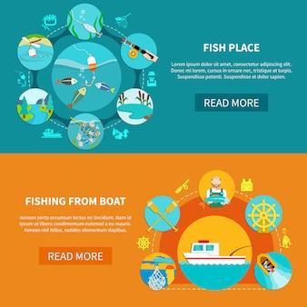 Conjunto de banner de pesca flutuante