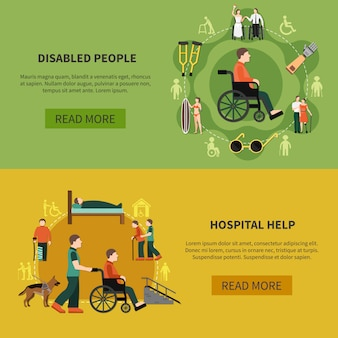 Conjunto de banner de pessoa com deficiência