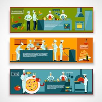 Conjunto de banner de pessoas cozinhar