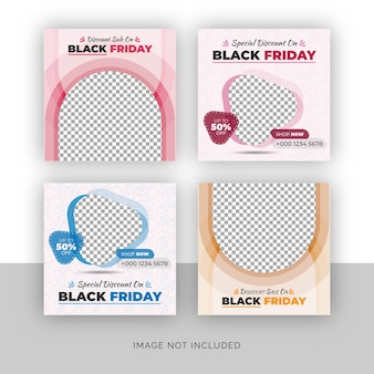 Conjunto de banner de postagem de mídia social de venda de moda black friday