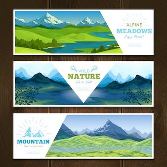 Conjunto de banner de prados alpinos