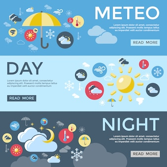 Conjunto de banner de previsão do tempo