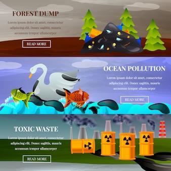 Conjunto de banner de problemas ecológicos