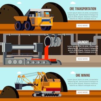 Conjunto de banner de produção de aço