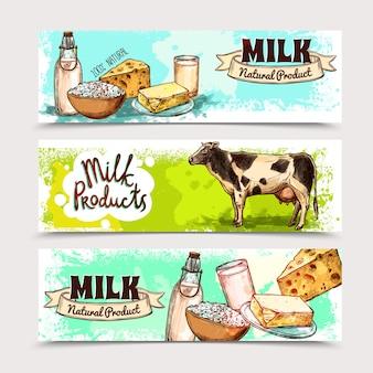 Conjunto de banner de produtos lácteos