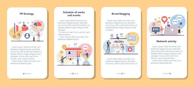 Conjunto de banner de promoção de marca para aplicativo móvel
