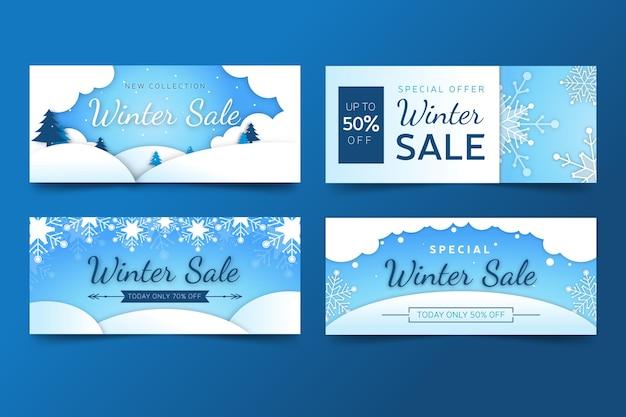 Conjunto de banner de promoção de venda de inverno em design plano