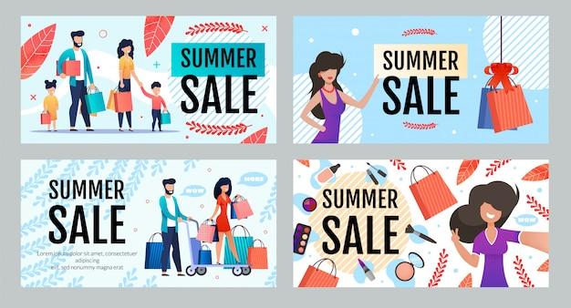 Conjunto de banner de publicidade com venda e desconto sazonais de verão