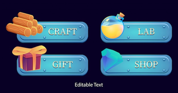 Conjunto de banner de quadro de modelo de fantasia gui. perfeito para jogos 2d