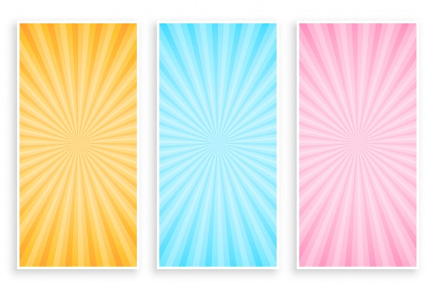 Conjunto de banner de raios abstrato sunburst