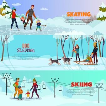 Conjunto de banner de recreação de inverno conjunto