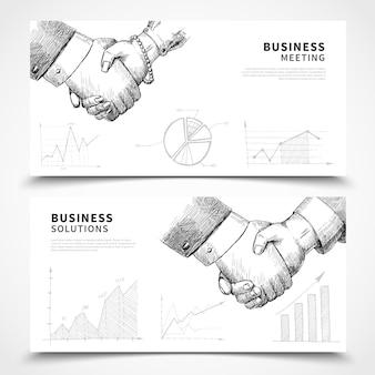 Conjunto de banner de reunião de negócios