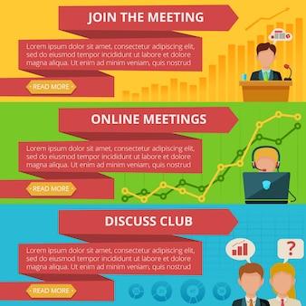 Conjunto de banner de reunião