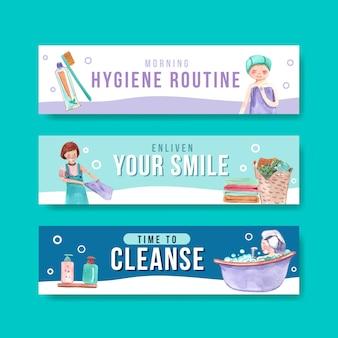 Conjunto de banner de rotina de higiene