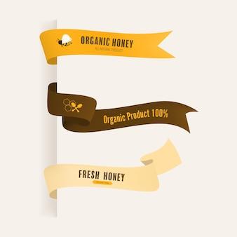 Conjunto de banner de rótulo e fita de abelha de mel
