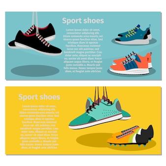 Conjunto de banner de sapatos de desporto em execução