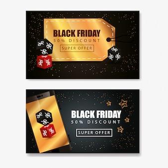 Conjunto de banner de sexta-feira negra e decoração