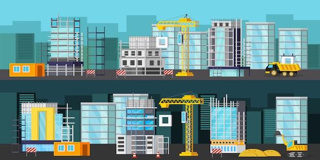 Conjunto de banner de site de construção