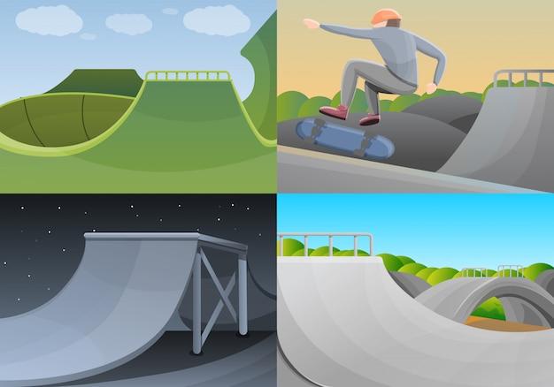 Conjunto de banner de skate park, estilo cartoon