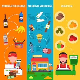 Conjunto de banner de supermercado