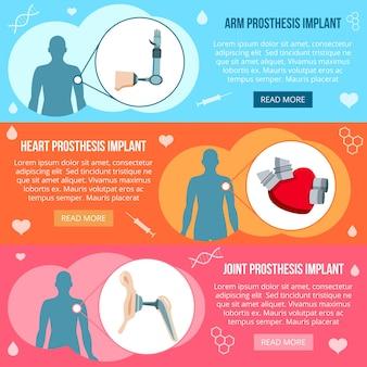 Conjunto de banner de tecnologia de implantes de próteses médicas